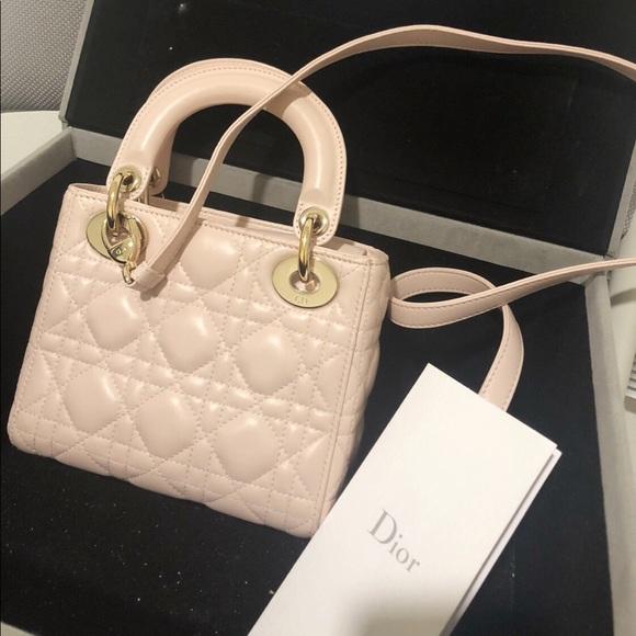 8f329c7636bc5 Dior Handbags - Lamskin mini lady Dior - baby pink
